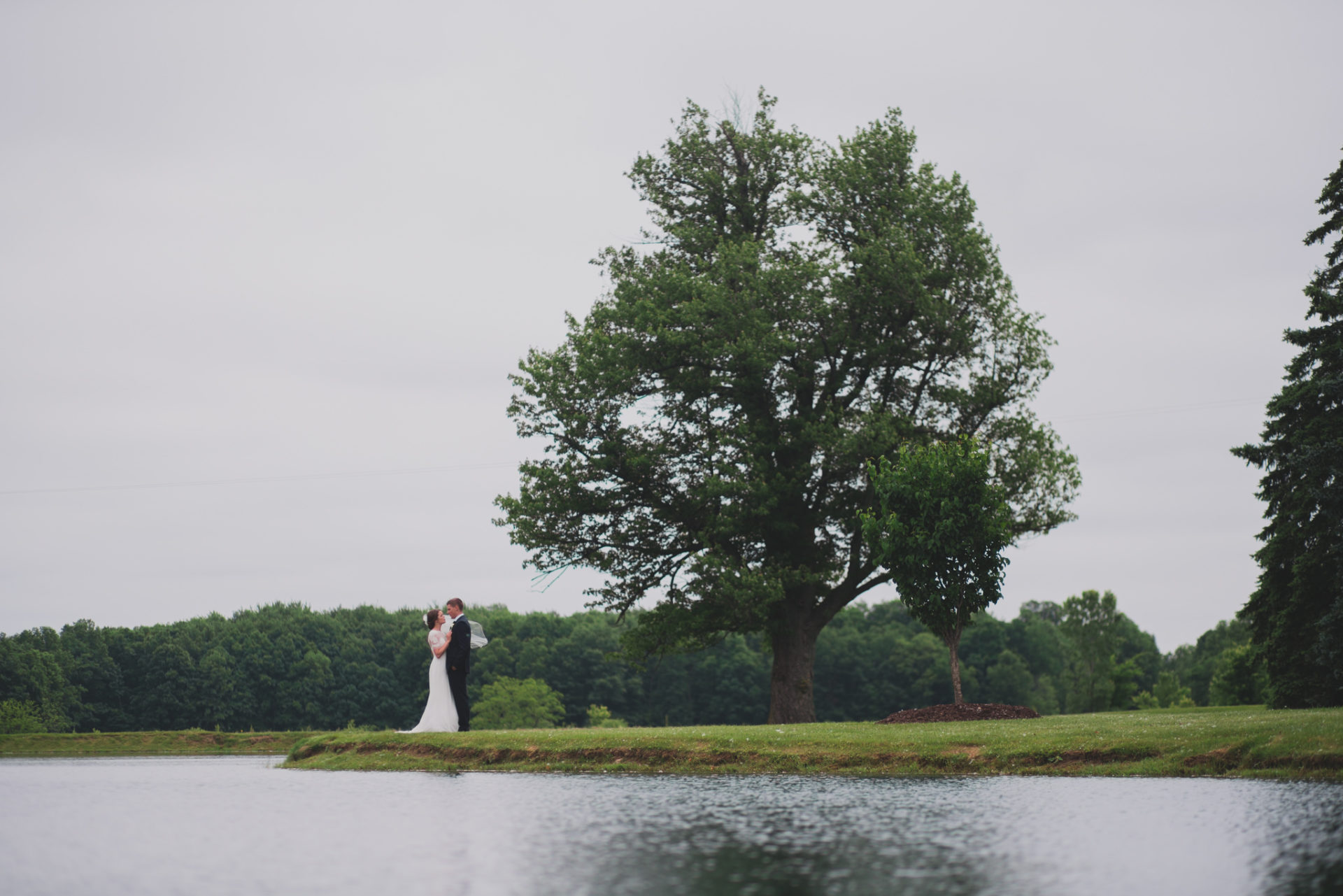 Couple Standing by Pond in Wakeman, Ohio