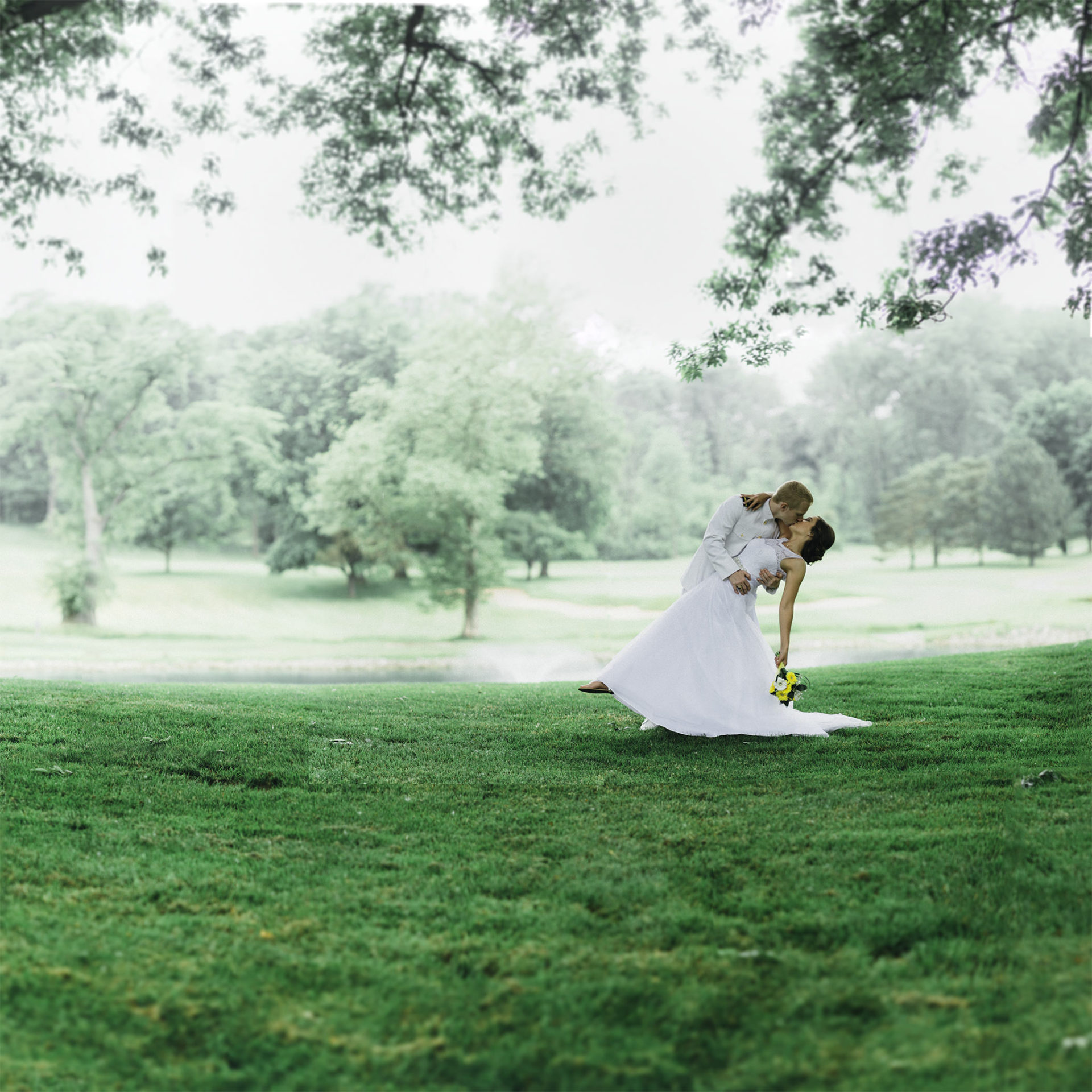Couple Kissing on Golf Course